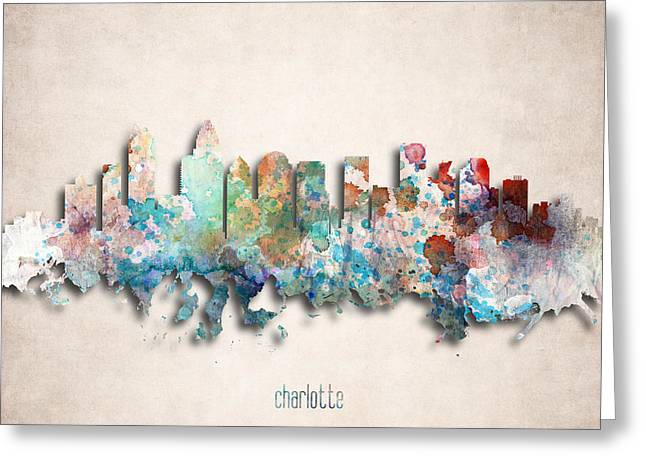 Charlotte Painted City Skyline Greeting Card