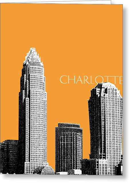 Charlotte Skyline 2 - Orange Greeting Card