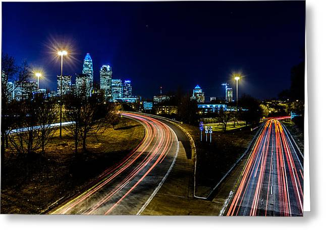 Charlotte Streaks Greeting Card by Randy Scherkenbach
