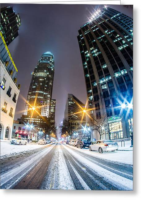Charlotte Tryon Street In Snow 2014 Greeting Card by Alex Grichenko