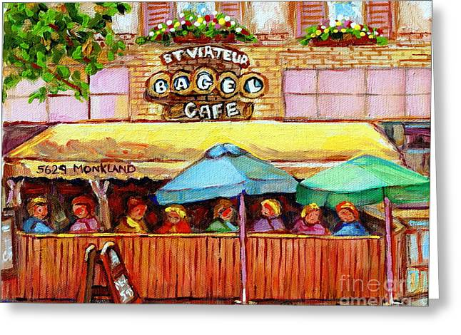 Charming French Cafe Scenes St Viateur Bagel Monkland Bistro Streets Montreal Paintings C Spandau Greeting Card by Carole Spandau