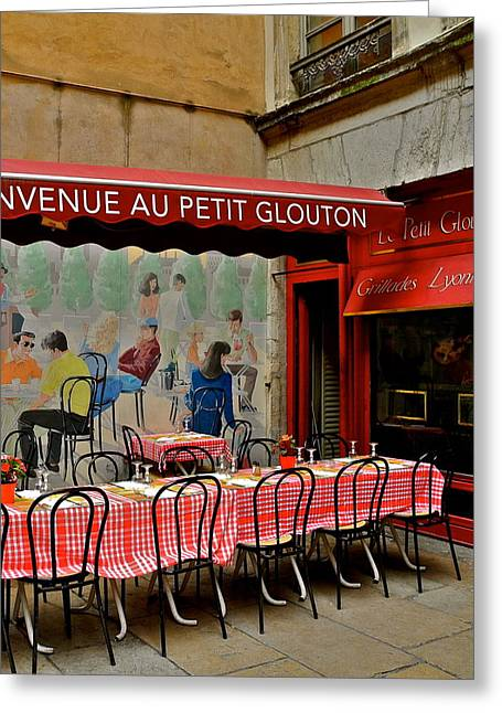 Charming French Outdoor Cafe Greeting Card by Kirsten Giving
