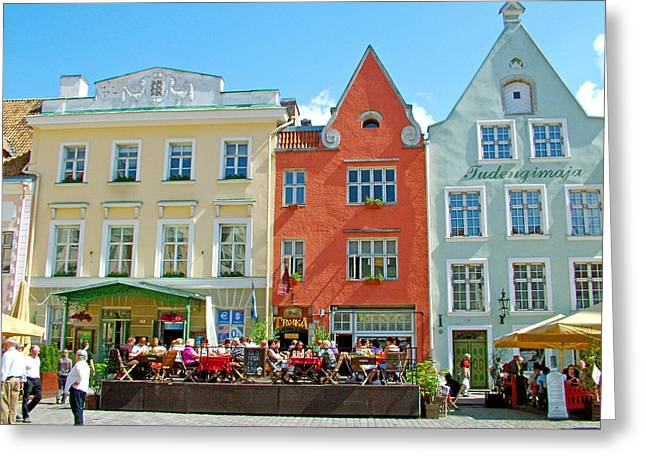 Charming Town Square In Old Town Tallinn-estonia Greeting Card by Ruth Hager