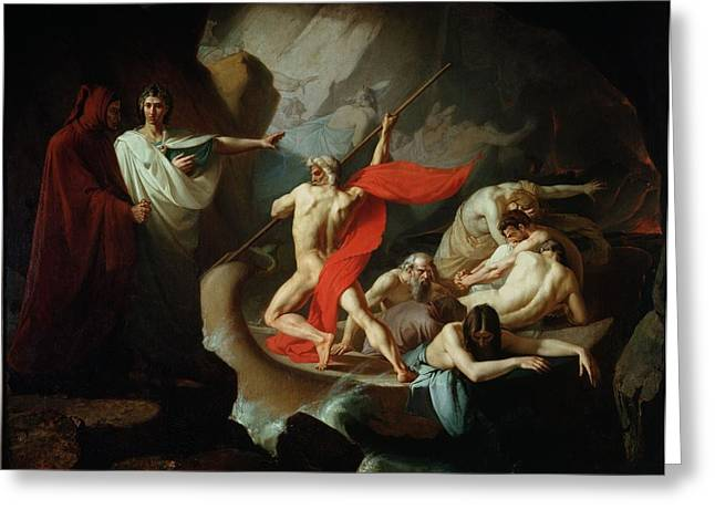 Charon Conveying The Souls Of The Dead Across The Styx, 1860 Oil On Canvas Greeting Card by Konstantin Petrovich Pomerantsev