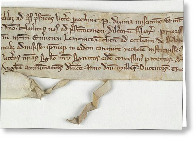 Charter Of Nuneaton Priory Greeting Card by British Library