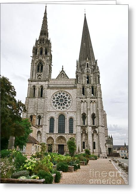 Chartres Cathedral And Esplanade Greeting Card by Olivier Le Queinec