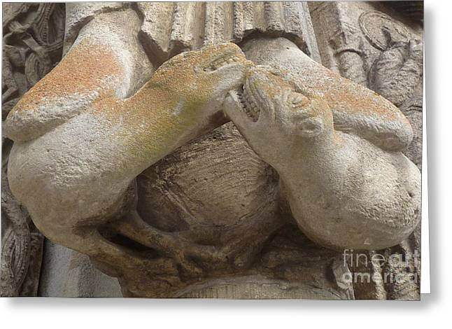 Greeting Card featuring the photograph Chartres Cathedral Carving by Deborah Smolinske