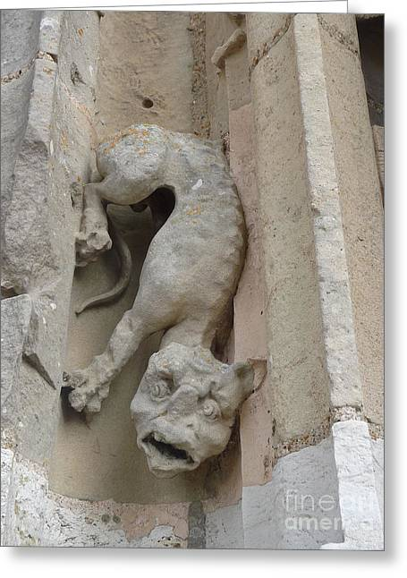 Greeting Card featuring the photograph Chartres Cathedral Dog Gargoyle by Deborah Smolinske