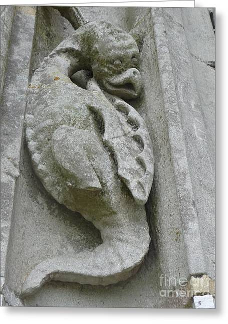 Greeting Card featuring the photograph Chartres Cathedral Dragon by Deborah Smolinske