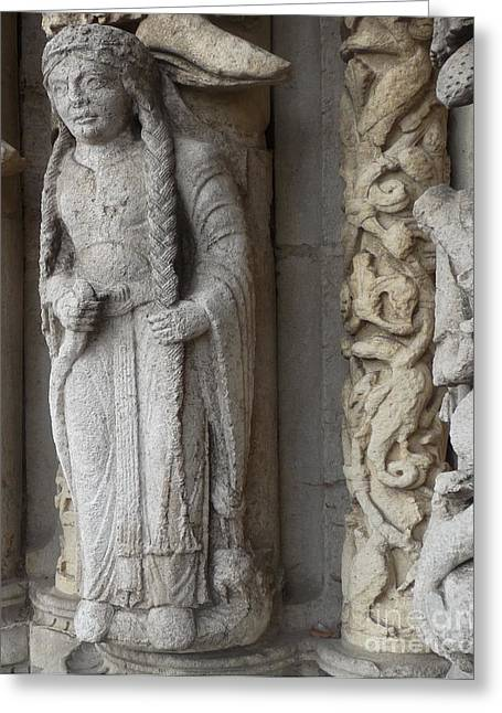 Greeting Card featuring the photograph Chartres Cathedral Female Pilgrim by Deborah Smolinske
