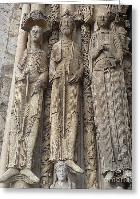 Greeting Card featuring the photograph Chartres Cathedral Saints by Deborah Smolinske