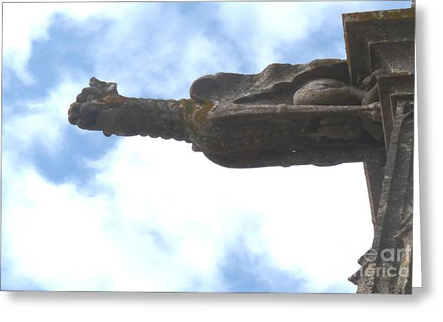 Greeting Card featuring the photograph Chartres Gargoyle by Deborah Smolinske