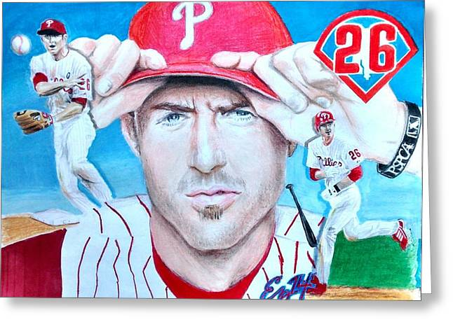 Chase Utley Greeting Card by Ezra Strayer