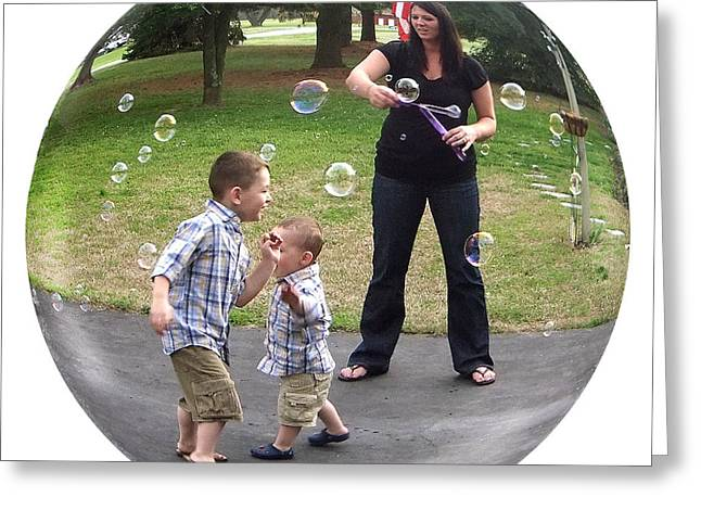 Chasing Bubbles Greeting Card by Brian Wallace