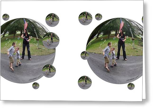 Chasing Bubbles - Cross Your Eyes And Focus On The Middle Image That Appears Greeting Card by Brian Wallace