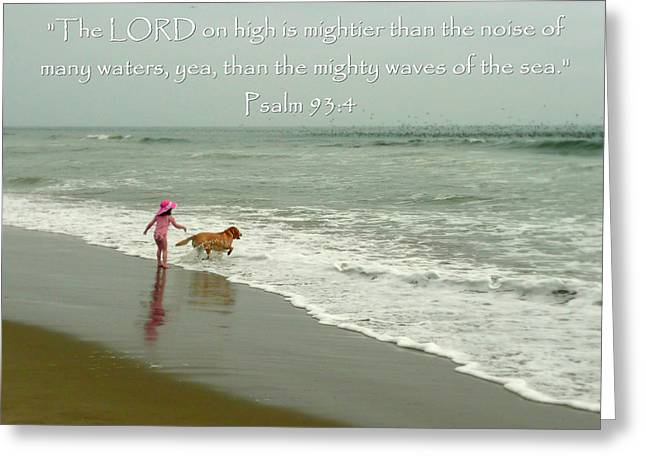 Chasing Waves And Birds Psalm 93 Greeting Card by Cindy Wright