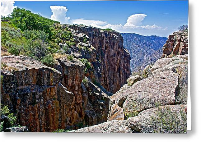 Chasm Near Beginning Of Warner Point Trail In Black Canyon Of The Gunnison National Park-colorado Greeting Card by Ruth Hager