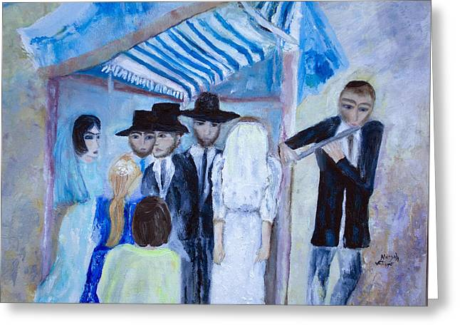 Greeting Card featuring the painting Chassidic Wedding by Aleezah Selinger