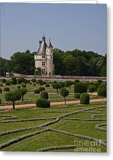 Chateau Chenonceau Tower And Garden Greeting Card