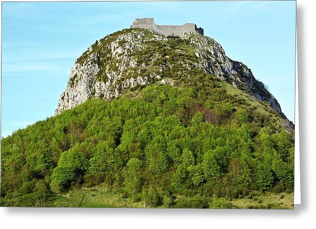 Chateau De Montsegur Greeting Card by Bob Gibbons