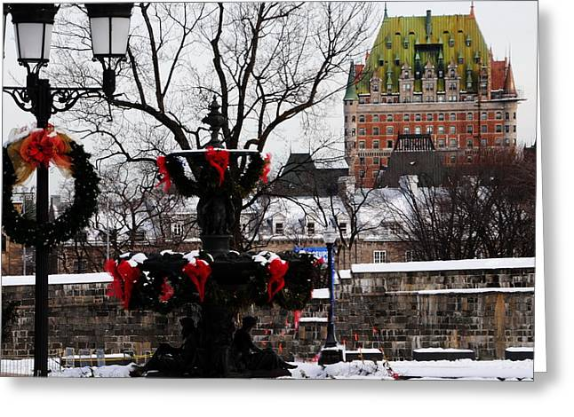 Chateau Frontenac - Holiday Greeting Card by Jacqueline M Lewis