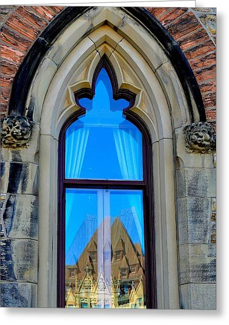 Chateau Laurier - Parlaiment Window - Reflection # 6 Greeting Card