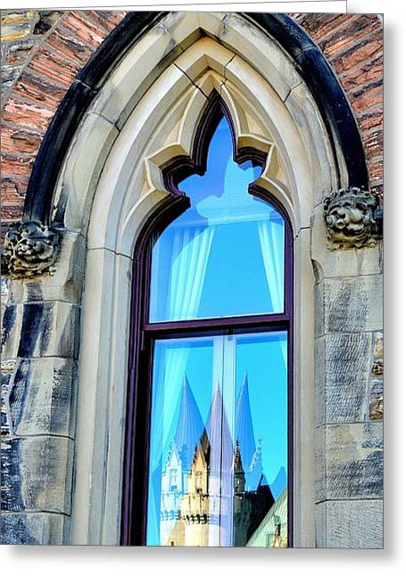 Chateau Laurier - Parlaiment Window - Reflection # 3 Greeting Card