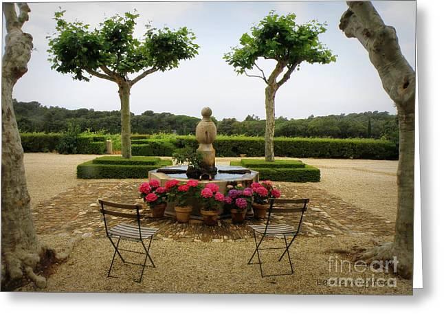 Chateau Malherbe Fountain Greeting Card by Lainie Wrightson