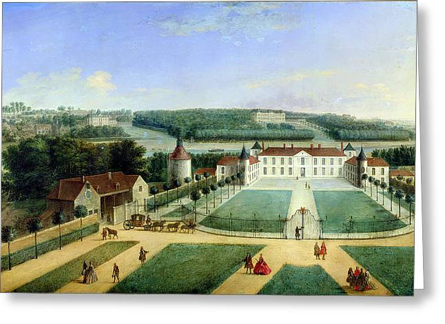 Chateau Of Charles Guillaume Le Normant, Seigneur Detoilles Oil On Copper Greeting Card by Charles Laurent Grevenbroeck