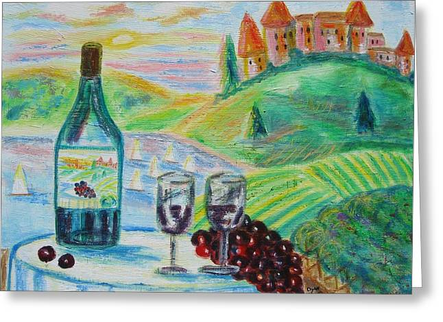 Chateau Wine Greeting Card by Diane Pape