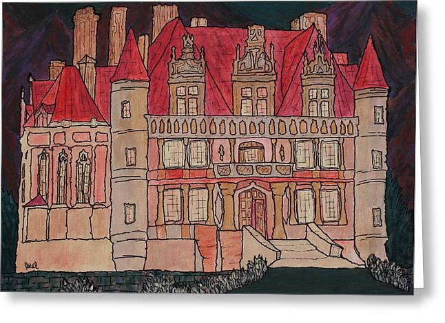 Prague Paintings Greeting Cards - Chateu  Greeting Card by Oscar Penalber