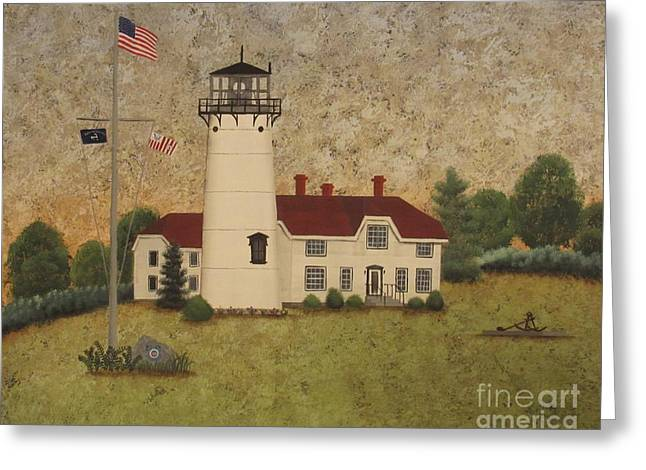 Chatham Light Greeting Card by Becky Humbarger