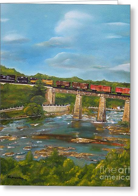 Chattahoochee Choo Choo -  Train On Trestle - Columbus Ga Greeting Card