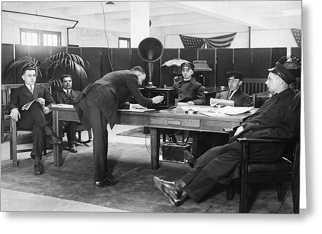 Chauffeurs Relax To Radio Greeting Card by Underwood Archives