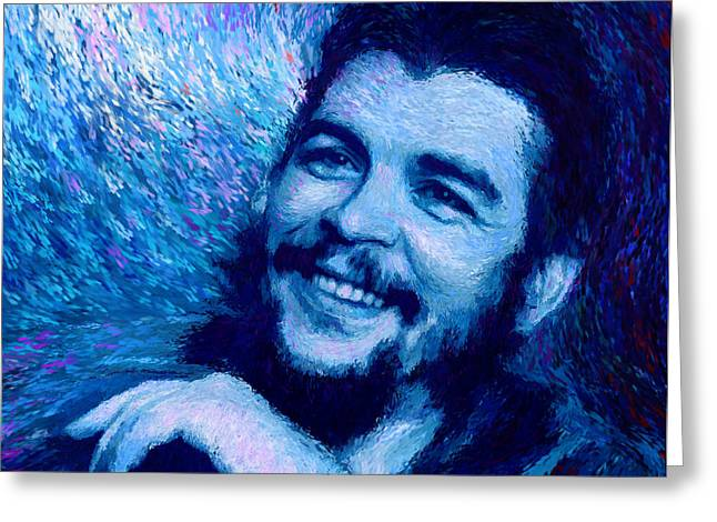 Che Guevara Blue Greeting Card
