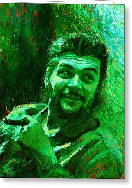 Che Guevara Green Greeting Card