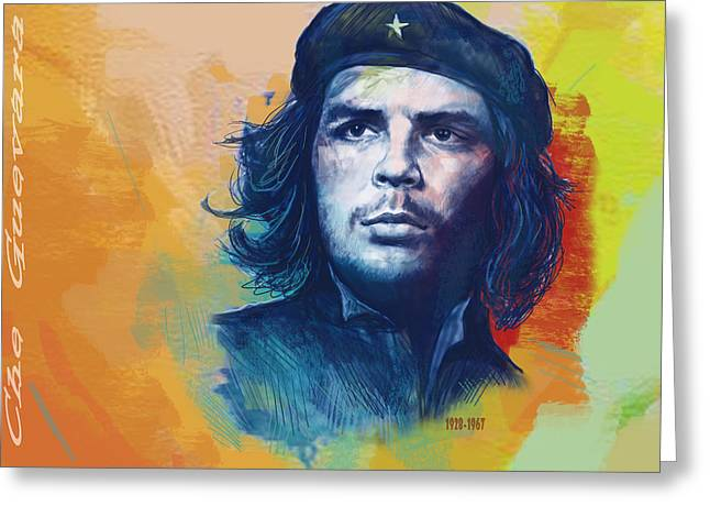 Che Guevara Stylised Modern Drawing Art Sketch Greeting Card by Kim Wang