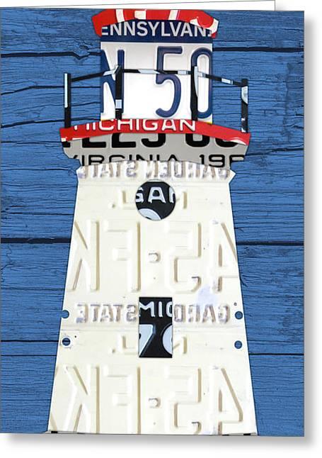 Cheboygan Crib Lighthouse Michigan Vintage License Plate Art On Wood Greeting Card