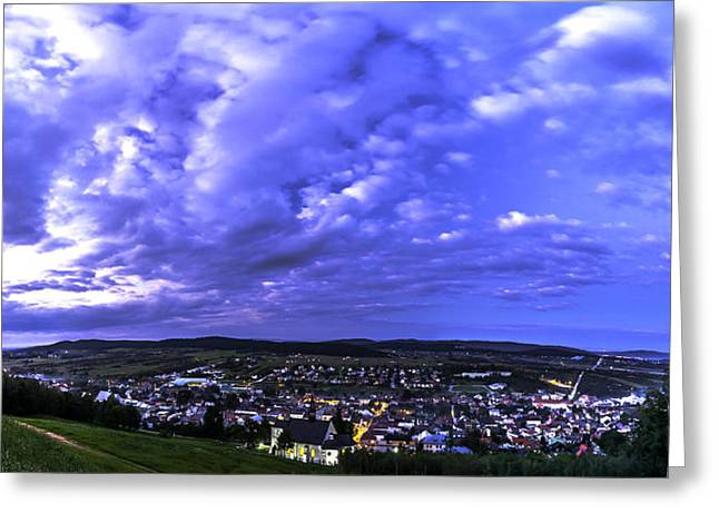 Checiny Town Blue Hour Panorama Greeting Card