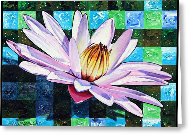Checker Board And Soft Petals Greeting Card by John Lautermilch