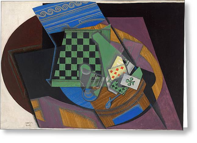 Checkerboard And Playing Cards Greeting Card by Juan Gris
