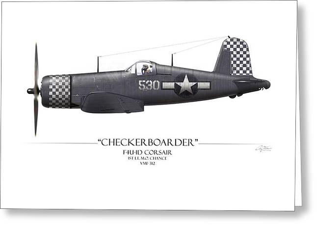 Checkerboarder F4u Corsair - White Background Greeting Card by Craig Tinder
