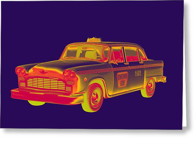 Checkered Taxi Cab Pop Art Greeting Card by Keith Webber Jr