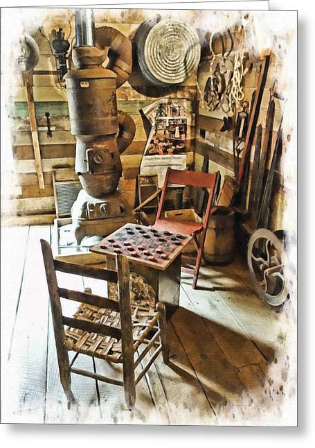 Checkers At The General Store Greeting Card by Kenny Francis