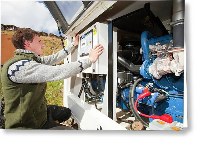 Checking Backup Diesel Generators Greeting Card by Ashley Cooper