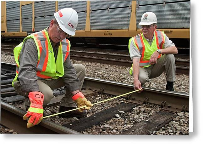 Checking Railway Track Width Greeting Card