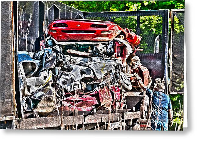Checking The Load - Automotive Recycling Greeting Card