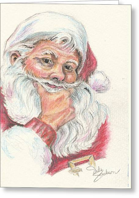 Santa Checking Twice Christmas Image Greeting Card