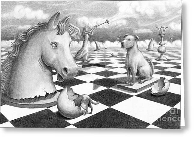 Greeting Card featuring the painting Checkmate by Denise M Cassano