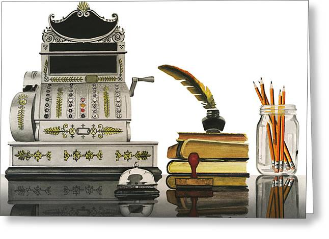 Greeting Card featuring the painting Checkout Time by Ferrel Cordle